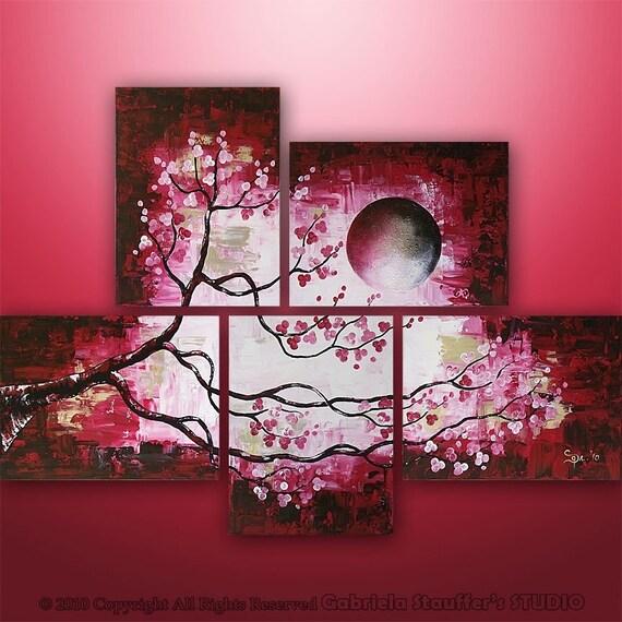 CUSTOM PAINTING Abstract Modern Landscape Tree Asian Zen Art by Gabriela 44x32
