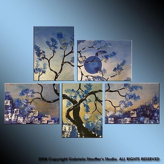 CUSTOM PAINTING Abstract Modern Landscape Tree Asian Zen Art by Gabriela 44x32 Metallic blue