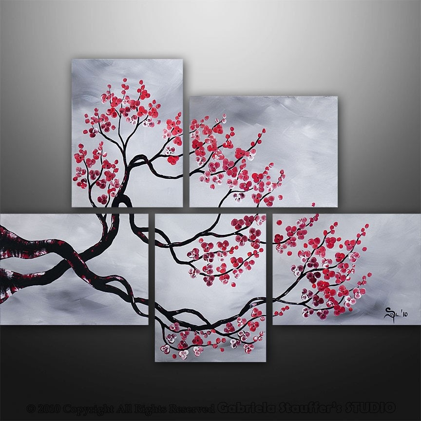 Abstract painting large painting asian painting tree for Black wall paint designs