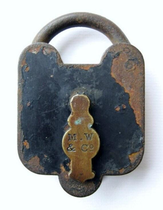 Antique M.W. & Co. Brass and Iron Padlock - No Key - Rusty - Shabby