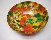 Vintage Decoupage Paper Mache or Plastic Flower Serving Snack Bowls