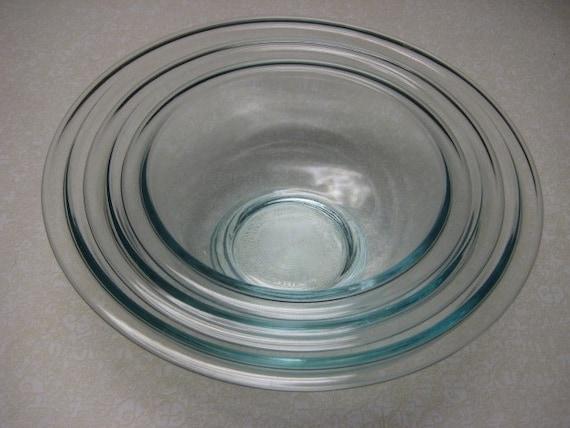vintage pyrex clear glass mixing bowl set. Black Bedroom Furniture Sets. Home Design Ideas