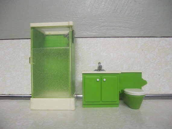 Vintage Fisher Price Bathroom Set Miniature Doll House Furniture 1977