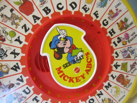 Vintage Mattel See 'n Say Mickey Mouse Alphabet Letters
