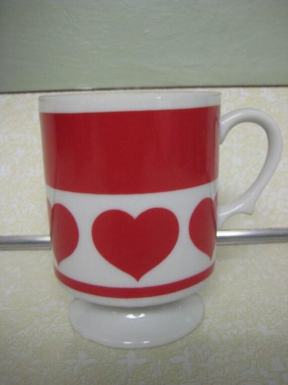 Vintage Lefton China Coffee Mug Red Hearts Pedestal Mug Valentines Gift