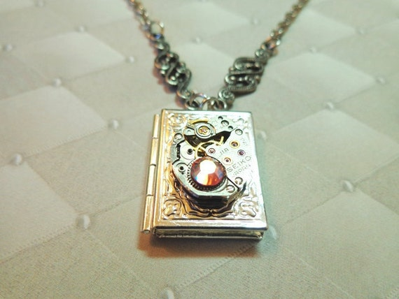 Steampunk Once Upon A Time Book Locket With Deep Pink Crystal