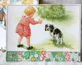 Dick and Jane Greeting Cards, Handmade Quilted Fabric and Ephemera