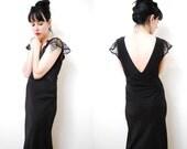 vintage 1930s / movie star / glam / black / Silk / bias cut / night gown / S-M