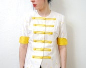 Reserved for Naomi vintage 1980s / raw silk / polka dot / scallop trim / blouse / yellow and white / S-M