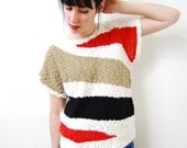 vintage 1980s / abstract / triangle / red / black / camel / white / knit / top / M-L