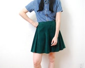 vintage 1980s / hunter green / suede / leather / circle skirt / high waist / L
