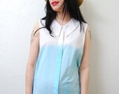 Up cycled / YeYe Ombre / over size / sleeveless / peter pan collar / blouse / S-M