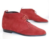 vintage 1990s / burgundy red / desert boots / ankle boots / NOS / 38 / 7.5