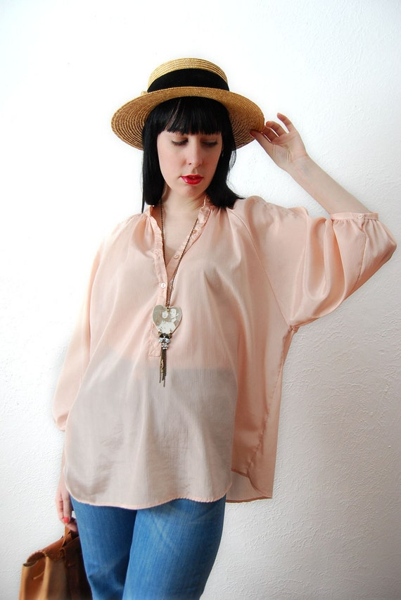 Reserved for Edie 25 Vintage 70s Pastel Pink Oversize Romantic Chiffon blouse