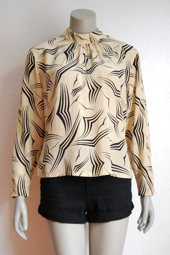 Bird Print Silk Blouse 2