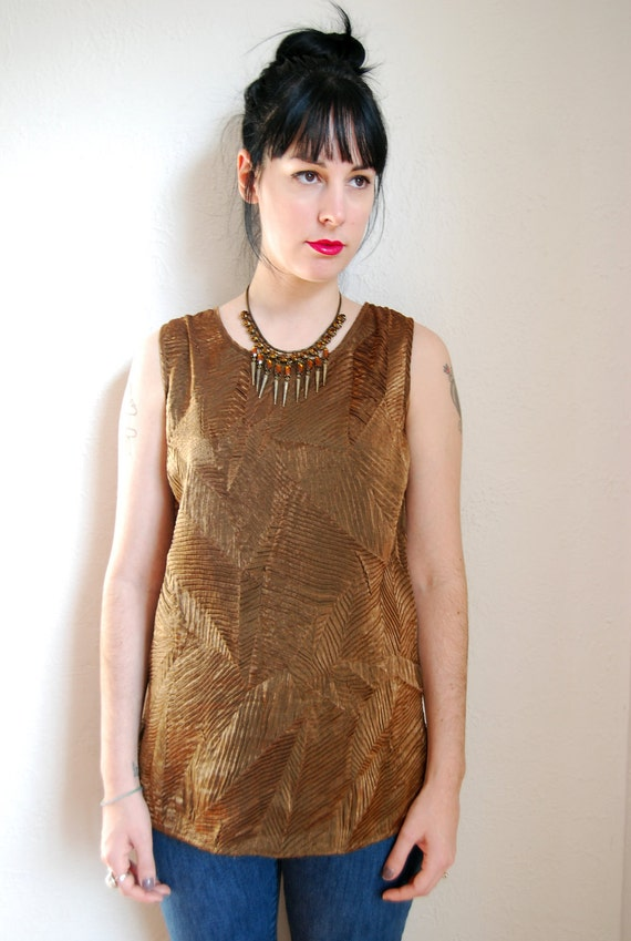 vintage 1990s / golden textured blouse / free form pleats / over size / S-M