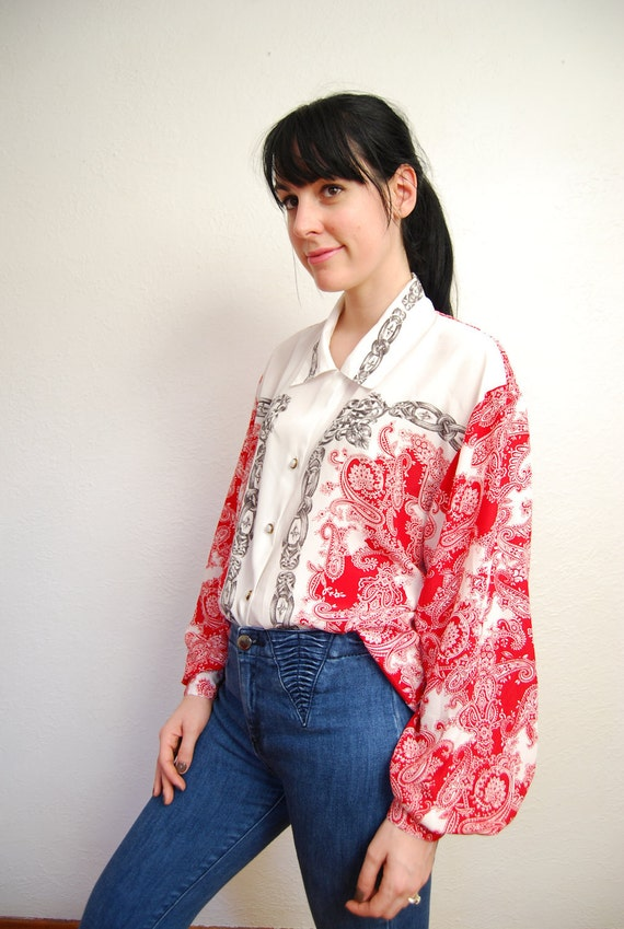 vintage 1990s / over size / silky blouse / chain print / printed collar / S-M-L