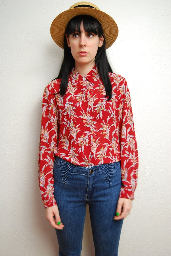 vintage 1990s / red / floral / button up blouse / chiffon / sheer / S-M