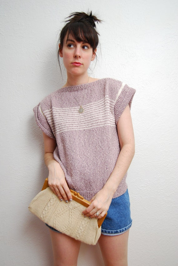 vintage 1970s / lilac / knit / pastel / cream / nautical stripe / over size / top / S-M