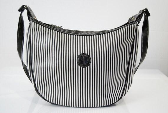 vintage 1980s / black and white / striped purse / cross body purse