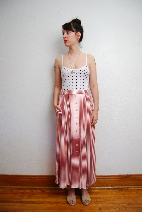 vintage 1990s / red and white striped / maxi skirt / high waist / M