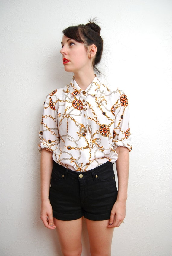 vintage 1980s / nautical print / pointed collar / over size / sailor shirt / S-M-L