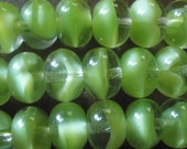 vintage Glass Beads (12) German Kiwi Givre Glass Beads