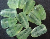 Vintage Glass Beads (12) German Green Beads