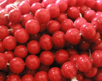 Vintage Japanese Glass (16) Beads Rich Red Handmade Beads