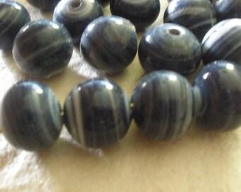 Japanese Dark Purple/Blue (8)Swirl Glass Beads
