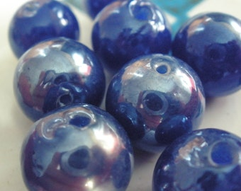 Vintage Glass Beads (4)(13mm) Blue Luster Focal Bead