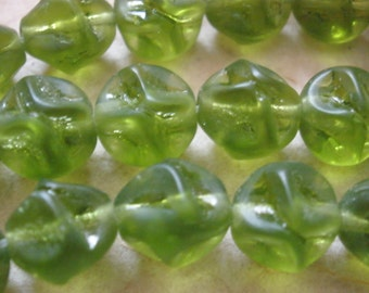 Vintage Glass BEAds (12) Olive Green German Frosted BEads