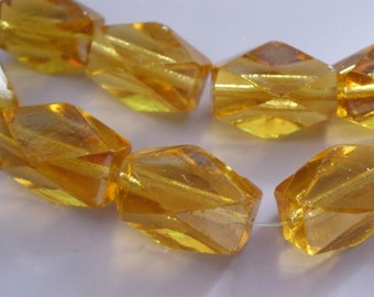 Vintage Glass Beads (2) Handcut Antique Topaz Beads