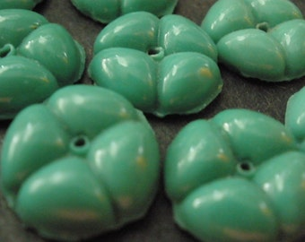 Vintage Glass Beads (8) Antique Green Glass Flower Beads