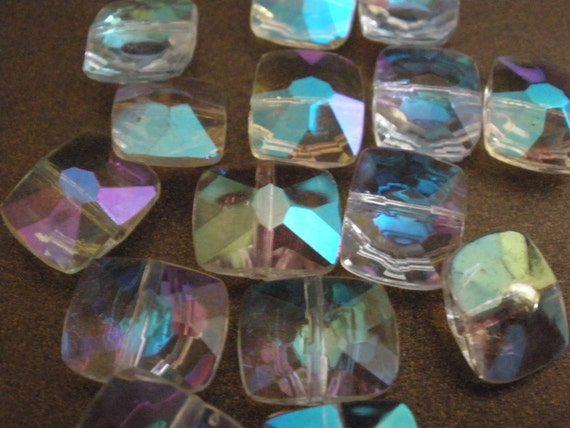 Vintage Glass Beads (12) Ice Pillow Faceted AB Beads