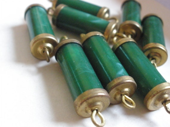 Vintage Lucite and Brass Connector Beads (6) 50's Green