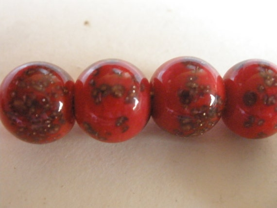 Vintage Glass BEads (8) Venetian Red Beads