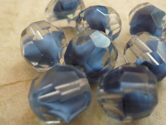 Vintage Blue Givre Faceted Glass Beads (8)