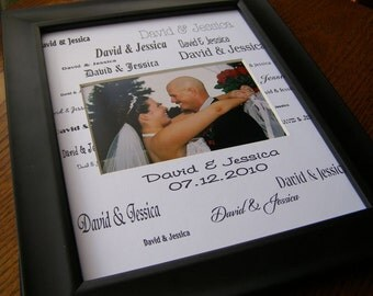 David and Jessica Custom Name with Date 8 x 10 Photo Mat Design C2