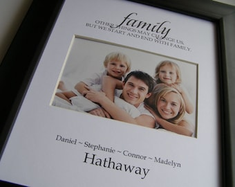 We start and end with Family includes Custom Names 8 x 10 Picture Photo Mat Design Cust 9