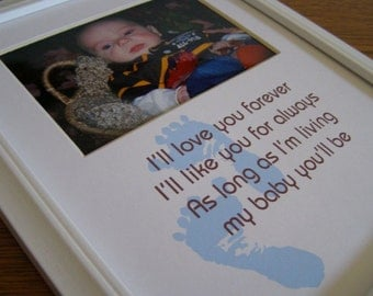 Baby Boy Footprints Love You Forever Photo Mat Design M1
