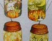 Fall  Vintage Grungy Pumpkin Fairy Mason Jar Hang Tags  FREE Shipping