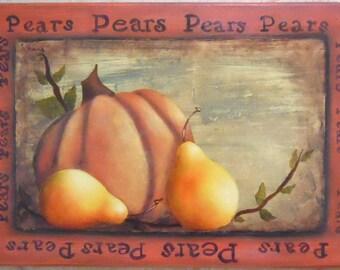 Pumpkin Pear Fall Sign Plaque Wall Decor