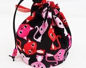 Sock knitting/small project drawstring bag.Kooky cats  UK seller
