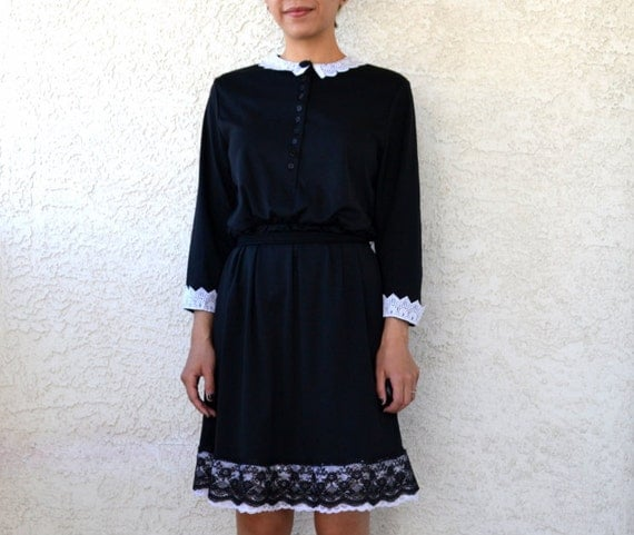 vintage 80s wednesday addams black dress with white lace collar and trim