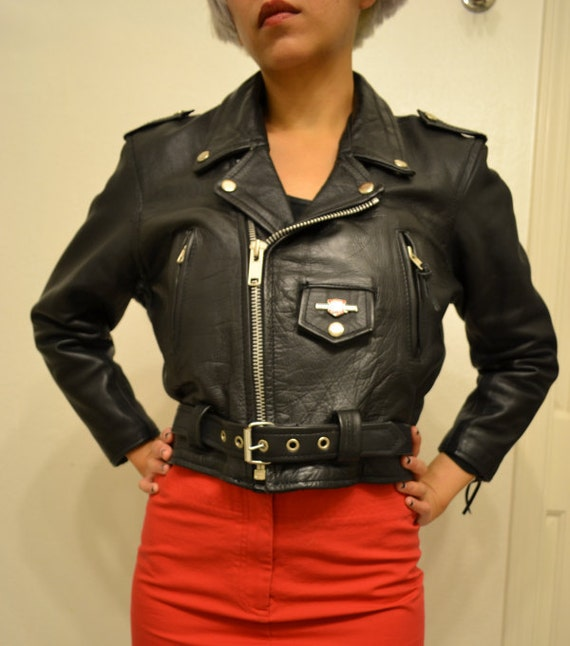 RESERVED cropped black leather motorcycle biker jacket with Harley Davidson pin XS