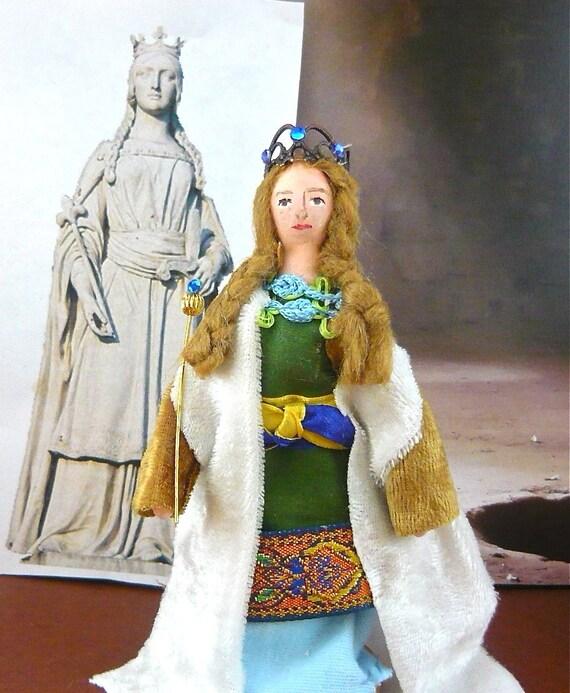 Matilda Of Flanders Doll Miniature Wooden Art Miniature