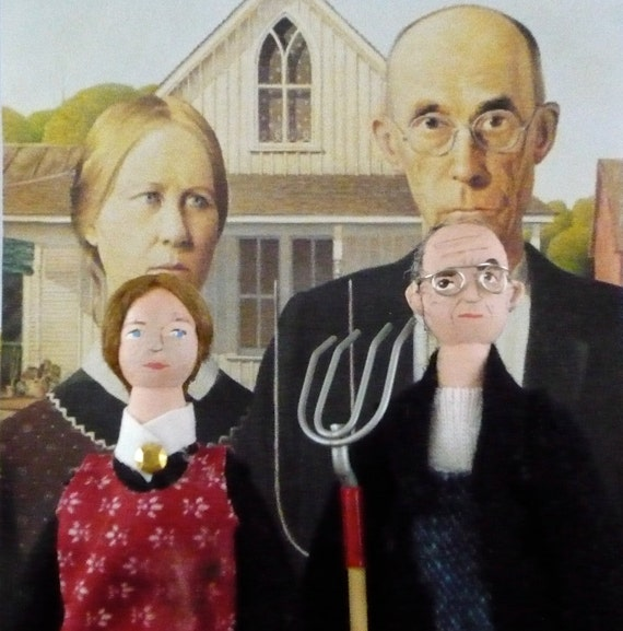 American Gothic Dolls Art Miniature Collectible Set