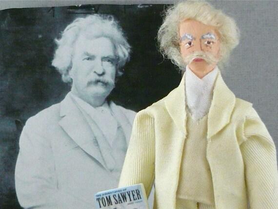 Mark Twain Doll Miniature Satire Writer and Humorist