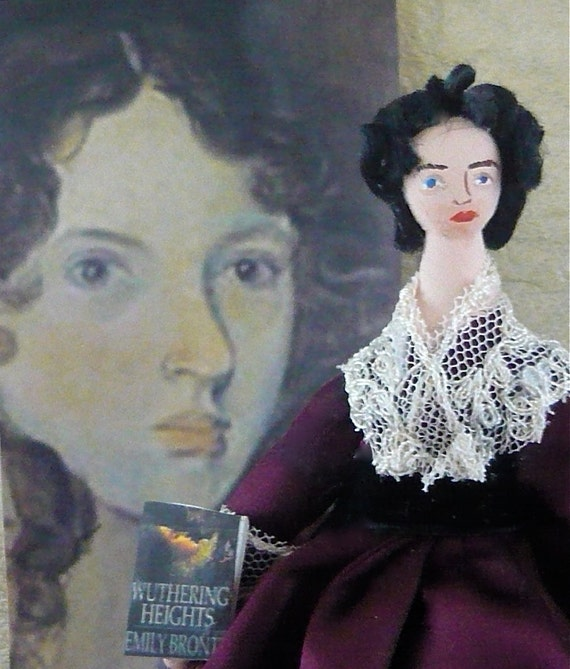 Emily Bronte Doll Author of Wuthering Heights Miniature Art